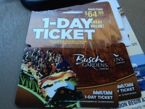 Busch Gardens tickets.