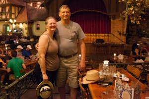 Malcolm and Val at the Biergarten in Germany.
