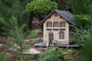 Model railroad grotto/garden.