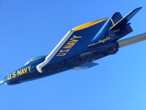Blue Angels jet replica at welcome area.