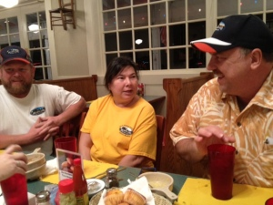 The Wolbecks and Jim Beletti at dinner.