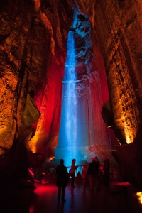 The falls, all lit up with colors.