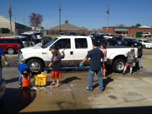 Getting the truck washed.