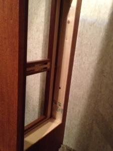 Shelf framing from inside the closet.