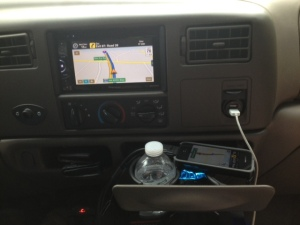 GPS software running on phone and on stereo.