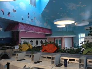 Beach/ocean themed laundry facilities.