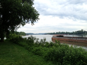 View downstream. Ohio River to the right. Standing in West Virginia, Kentucky off in the distance to the left, Ohio on the right.
