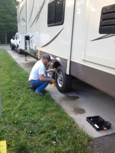 Malcolm removing the bad tire.