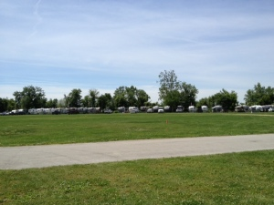 Several of the trailers at the rally.