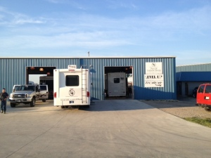 Our trailer sitting in Lippert's service bay.