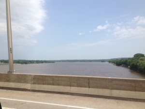 The Mississippi River, heading into Iowa.