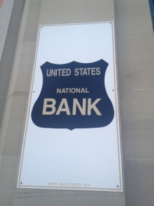 Former United States Bank on one of the corners at the traffic light