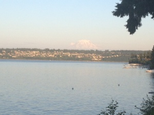 Mount Ranier as the sun is setting