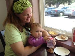 Scarlet and Nana enjoying their food