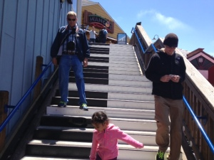 Malcolm and David enjoying the Piano Stairs at Pier 39
