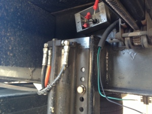 Junction box for 110V. 12V wiring came through a hole in the frame. Wire nuts were employed and re-used.