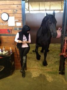 Erin demonstrating Beatrix's hoof lift
