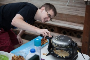 David checking his waffle