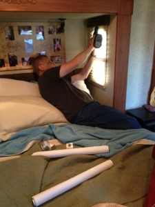 Malcolm at work removing the old valance in the bed slide.