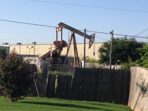 Oil derrick next to campground. You can tell you are in Oklahoma.