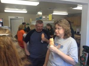 Tony and Erika with their peach ice cream