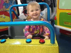 Scarlet driving her Jeep