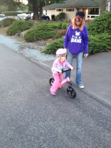 Violet out riding her bike