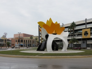 Sculpture nearby in the traffic circle