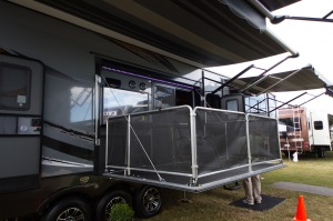 Side porch on the new Cyclone 4200 - a very popular model at the show