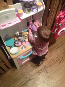 Scarlet found the kitchen set at Cracker Barrel