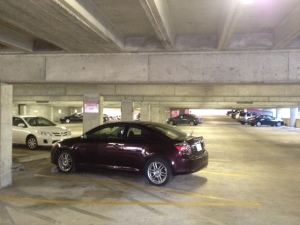 David's car at the parking garage downtown where Malcolm works