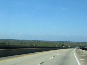 Looking toward the Gulf of Mexico on I-65 north of Mobile (Tue. 4/2)