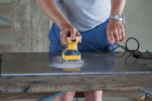 Sanding with heavy grit