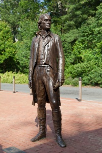 Statue of Jefferson at the bus loading area