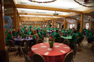 Everyone wore their green rally shirts tonight