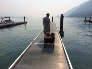 Riding out on the dock (hazy background is smoke from Washington forest fires)