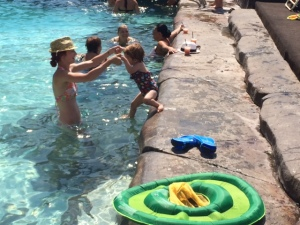Swimming at the hotel pool