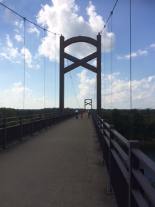 Bike/pedestrian bridge over the river