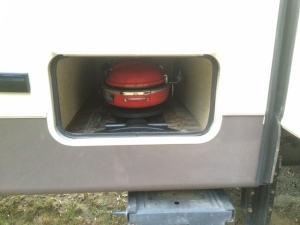 The new grill stowed away