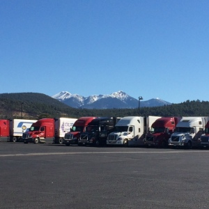 Mountains behind truck stop