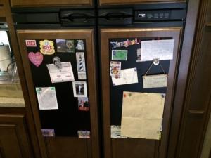 Magnetic boards on fridge