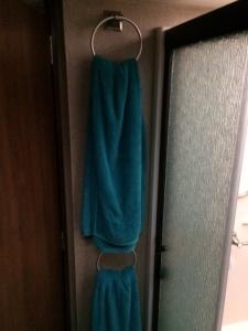Towel hoops in the main bathroom